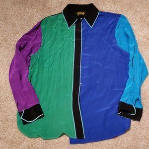 Vtg 90s Bob Mackie Hip Hop Colorblock top sz L